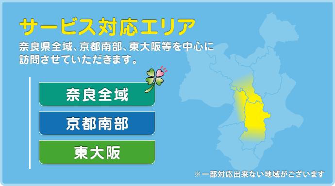 サービス対応エリア:奈良県全域、京都南部、東大阪等を中心に訪問させていただきます。